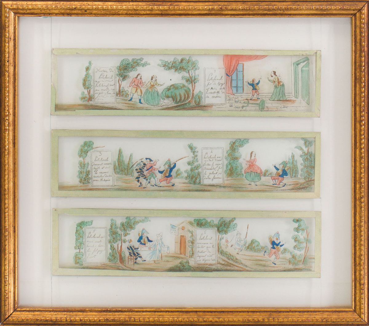 SET OF EIGHT FRENCH REVERSE-PRINTED AND ENRICHED MAGIC LANTERN