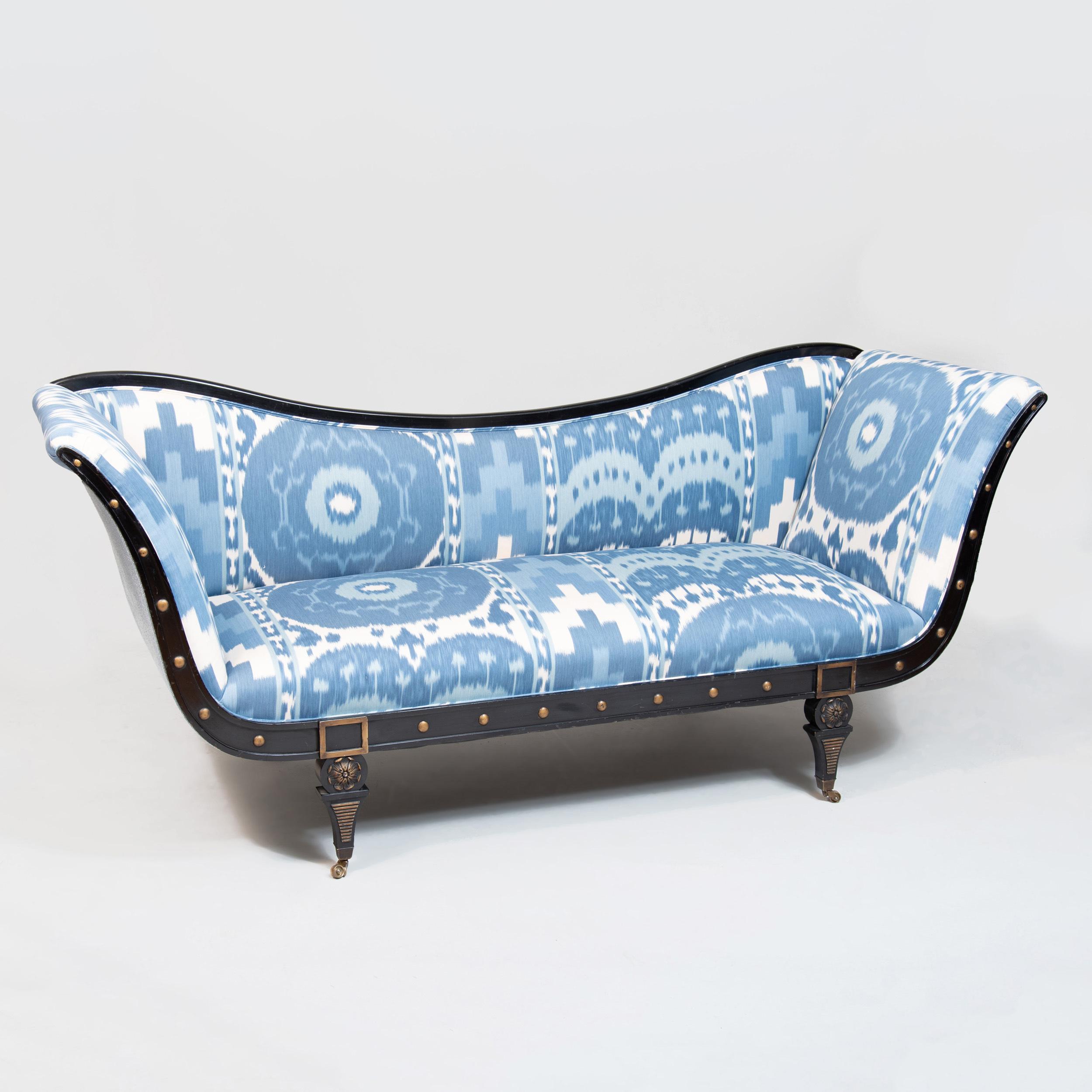 Amazing Regency Style Ebonized Sofa Upholstered In Ikat Print Fabric Ibusinesslaw Wood Chair Design Ideas Ibusinesslaworg