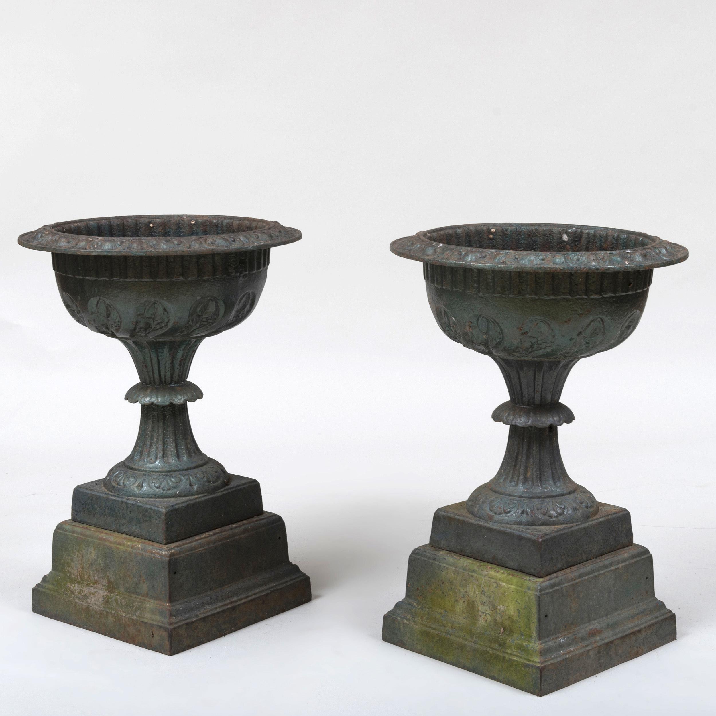 Painted Cast Iron Garden Urns, Dayton, Ohio