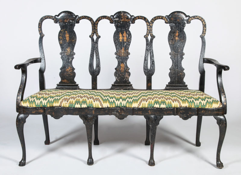 DUTCH ROCOCO BLACK LACQUER AND PARCEL-GILT TRIPLE-CHAIR-BACK SETTEE