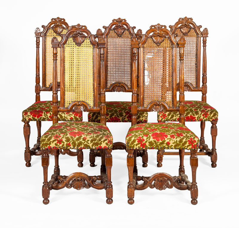 SET OF FIVE WILLIAM AND MARY STYLE WALNUT AND CANED TALL BACK SIDE CHAIRS