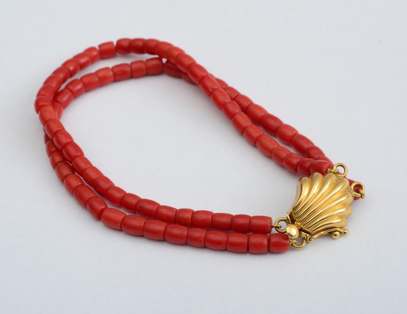 Two-Strand Coral Bead Bracelet