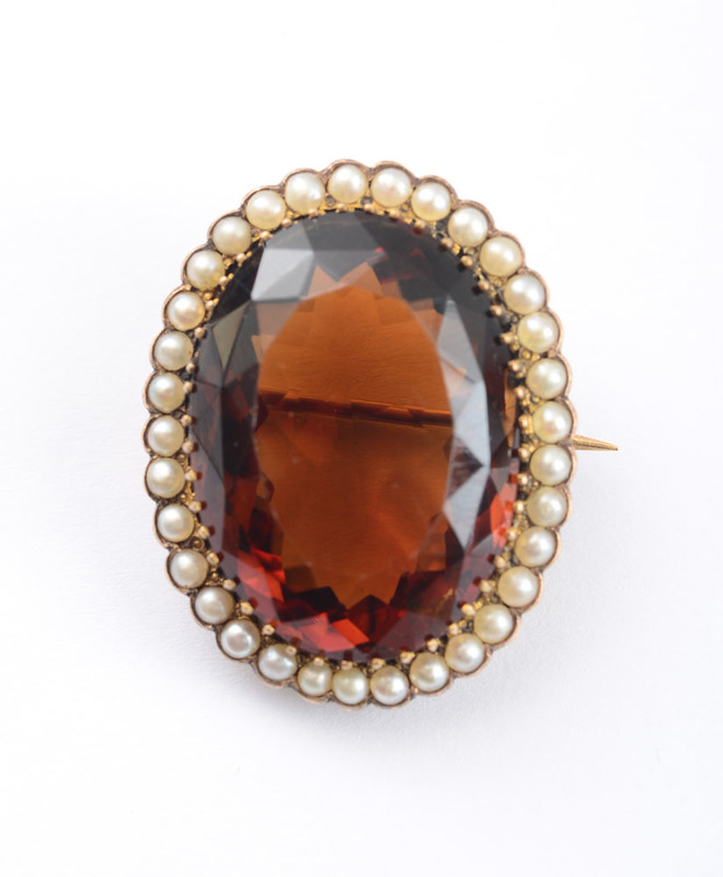 14k Gold, Citrine and Seed Pearl Pin