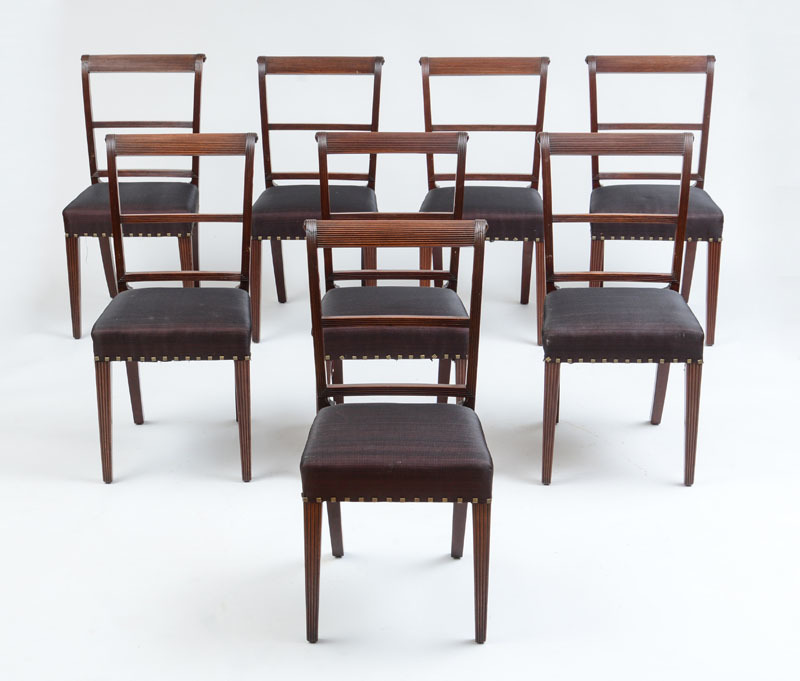 EIGHT FEDERAL FINELY REEDED MAHOGANY DINING CHAIRS, PHILADELPHIA OR BALTIMORE, C. 1800