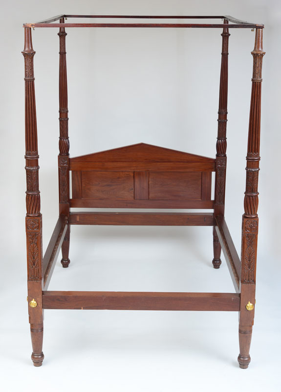 FEDERAL CARVED MAHOGANY TALL-POST BEDSTEAD