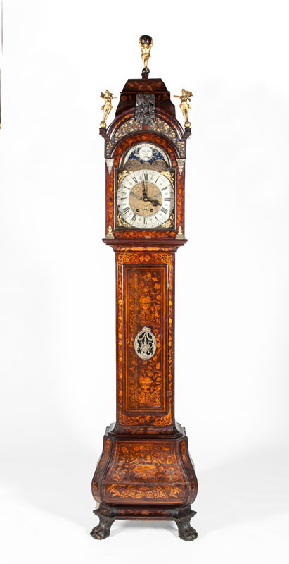 DUTCH ROCOCO GILT-METAL-MOUNTED MAHOGANY AND FRUITWOOD MARQUETRY TALLCASE CLOCK