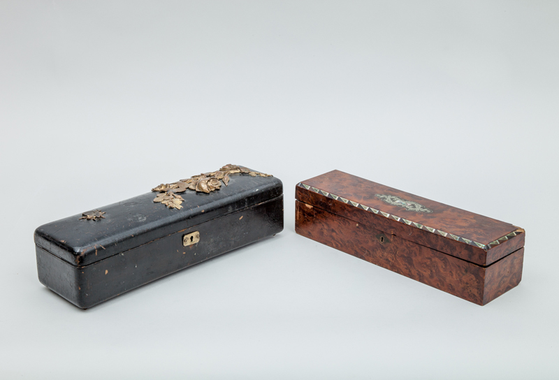 French Black Lacquer Glove Box with Gilt-Metal Rose Stem Mount and a Brass and Mother-of-Pearl Inlaid Burrwood Glove Box