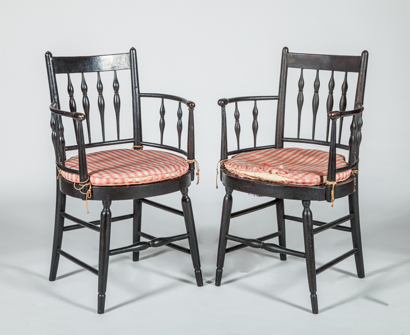 Regency Black Painted and Caned Armchair