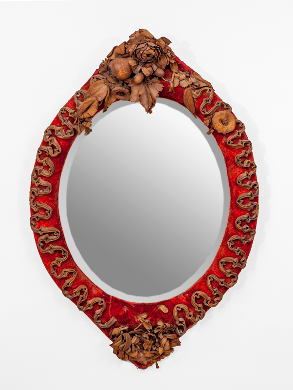 Victorian Leather-Mounted Velvet Oval Mirror