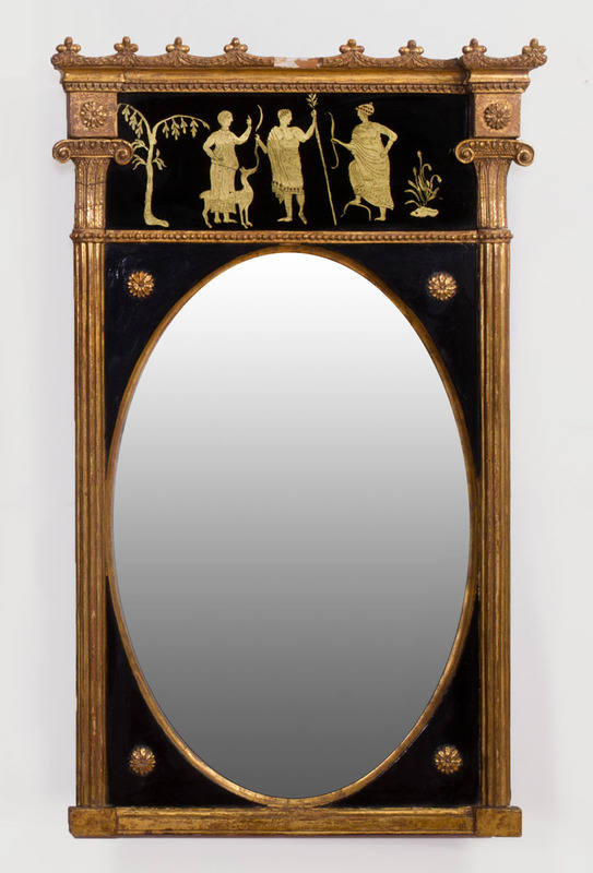 SMALL REGENCY REVERSE-PAINTED PIER MIRROR
