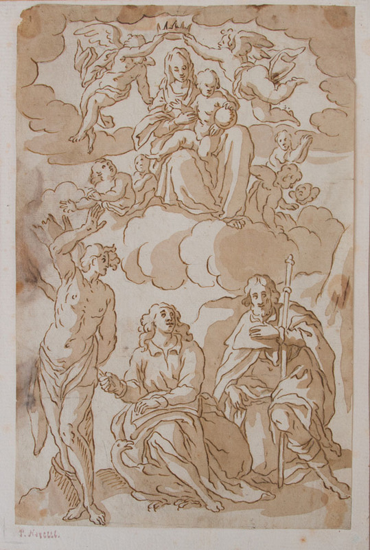 ATTRIBUTED TO PIETRO NOVELLI (1729-1804): JESUS AND MARY IN THE HEAVENS