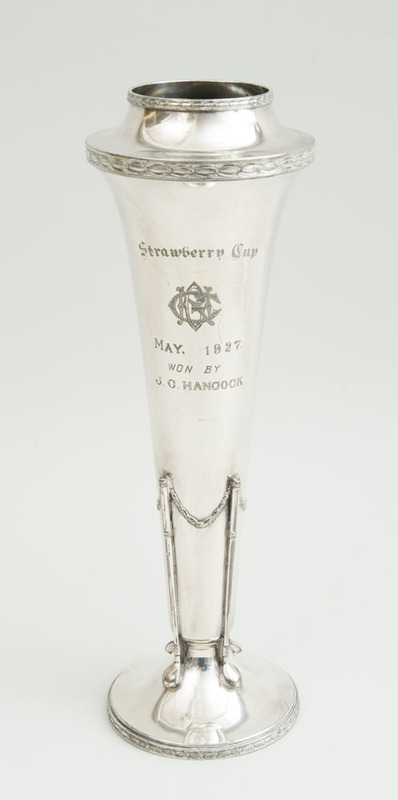 AMERICAN SILVER-PLATED TROPHY: STRAWBERRY CUP, MAY, 1927, WON BY J.G. HANCOCK
