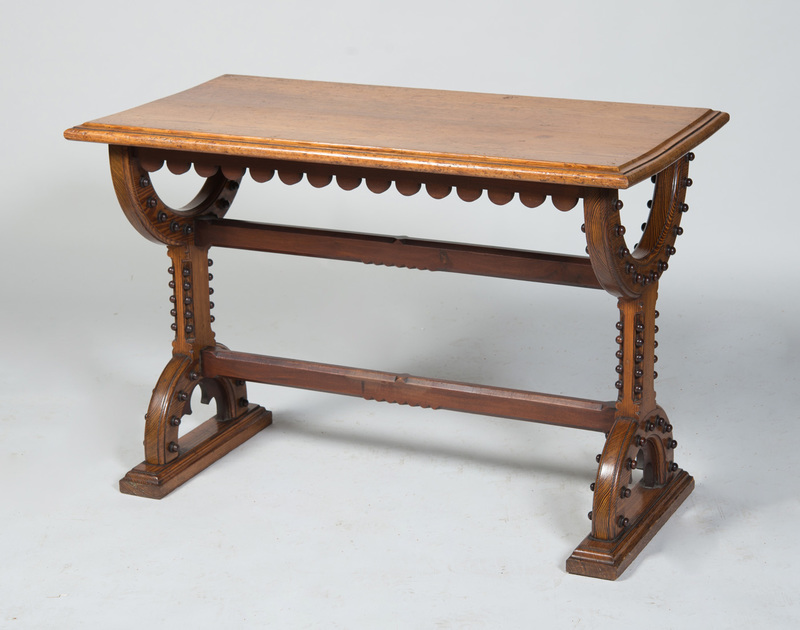 VICTORIAN CARVED PITCH PINE TRESTLE TABLE
