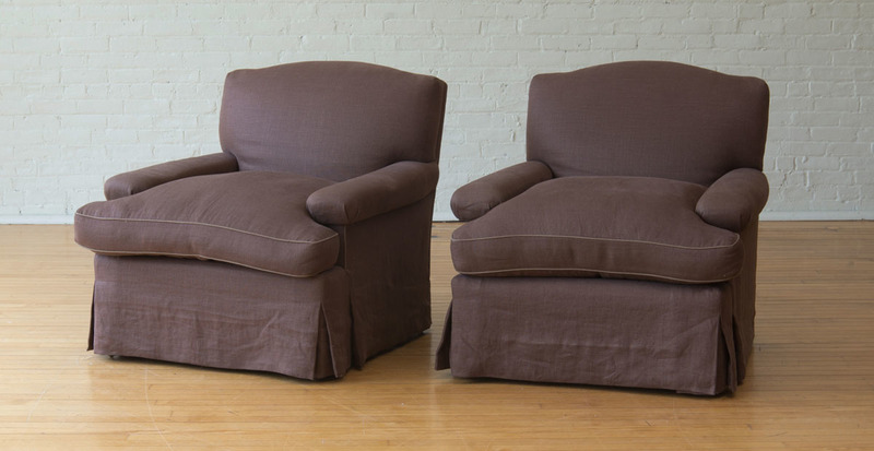 PAIR OF LARGE LINEN UPHOLSTERED CLUB CHAIRS
