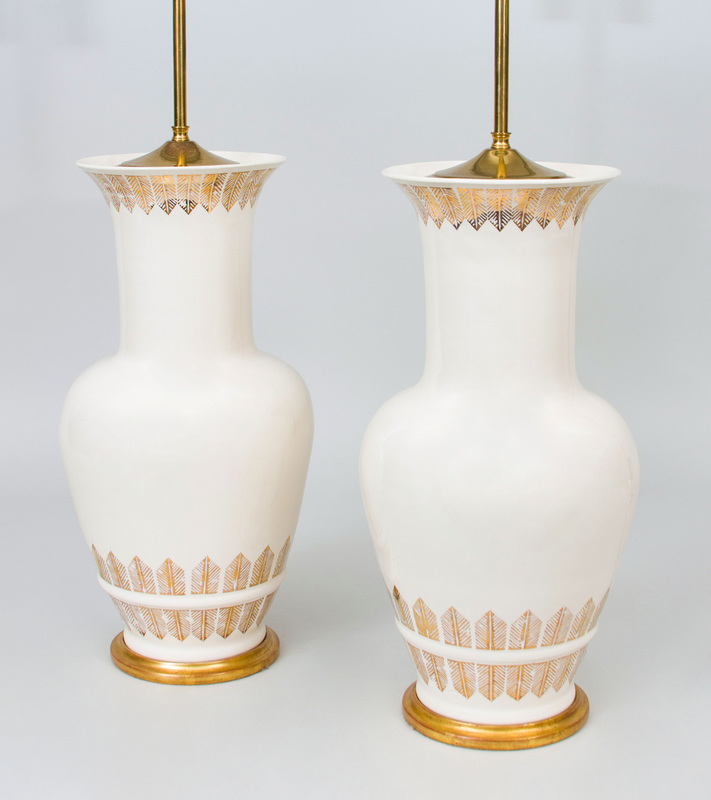 PAIR OF GILT-DECORATED PORCELAIN BALUSTER VASES MOUNTED AS LAMPS