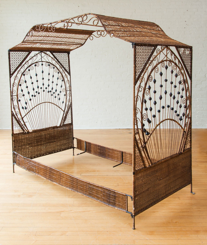 WICKER, METAL AND BEADED CANOPY BED