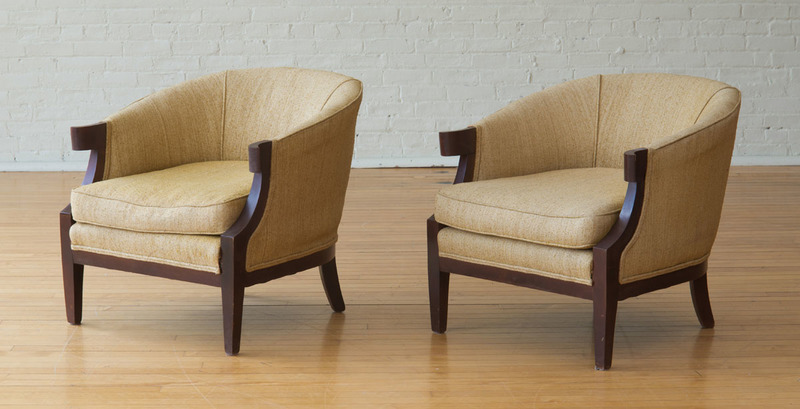 PAIR OF BAKER STAINED WOOD UPHOLSTERED 'PALLADIAN COLLECTION' ARMCHAIRS