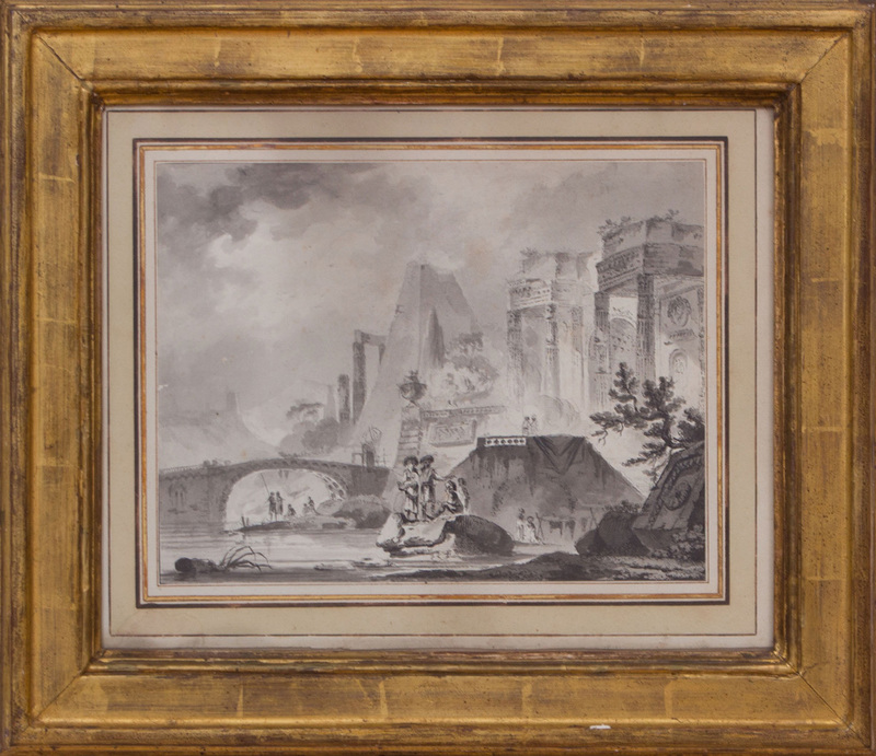 ATTRIBUTED TO AIGNAN DESFRICHES (1715-1800): CLASSICAL RUINS WITH FIGURES