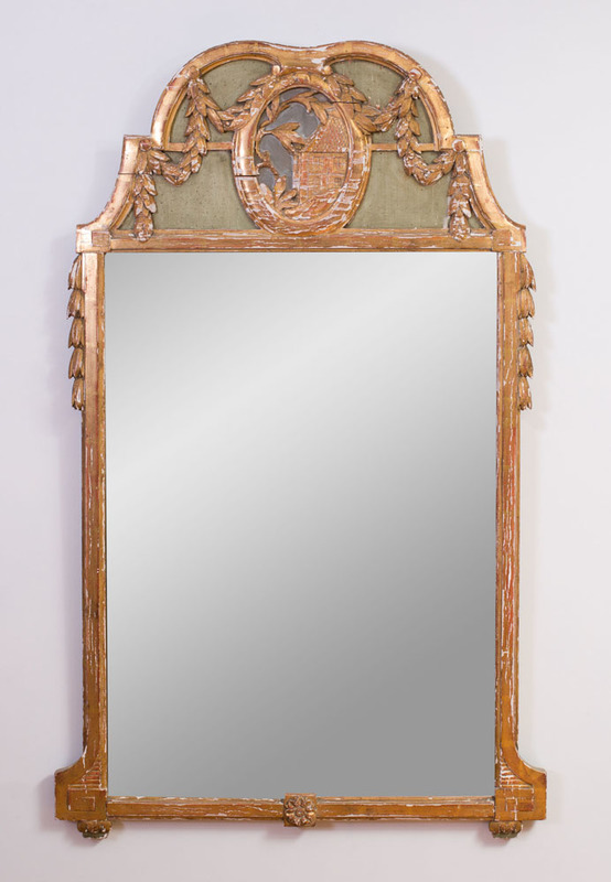LOUIS XVI STYLE PAINTED AND PARCEL-GILT MIRROR