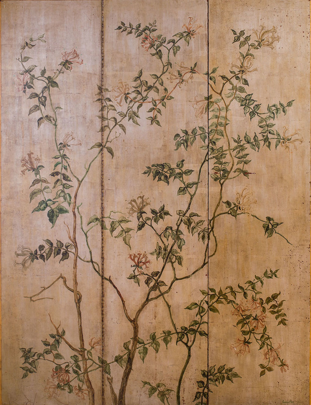 CONTINENTAL PAINTED THREE-PANEL FOLDING SCREEN