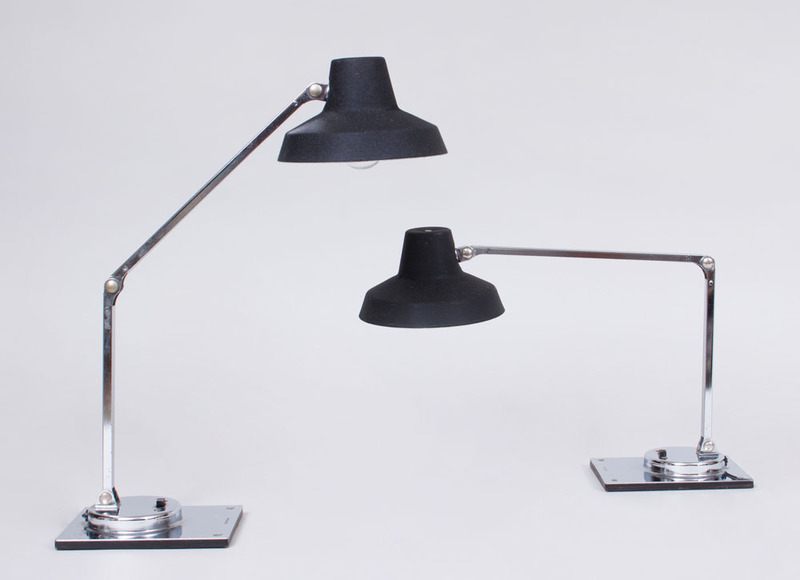 PAIR OF TENSOR CHROME AND METAL DESK LAMPS