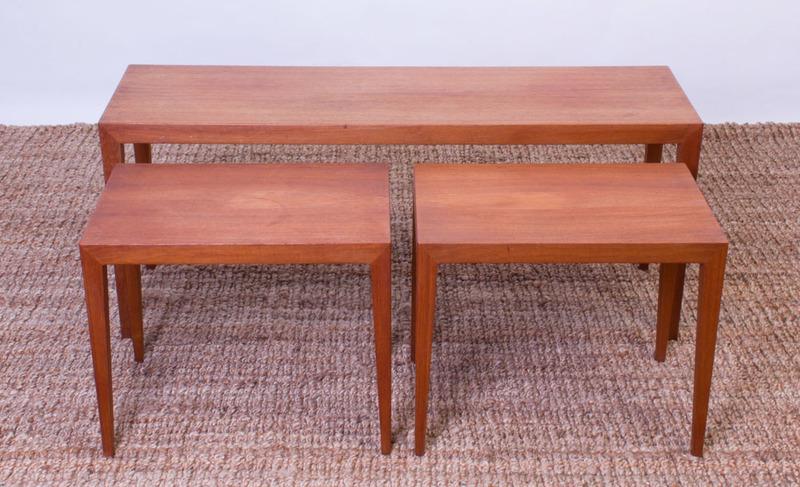 SET OF THREE SEVERIN HANSEN FOR HASLEV TEAK TABLES