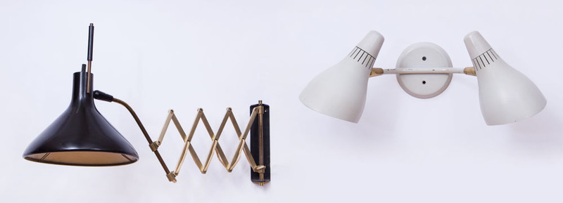 GERALD THURSTON PAINTED METAL AND BRASS TELESCOPING WALL LIGHT FOR LIGHTOLIER
