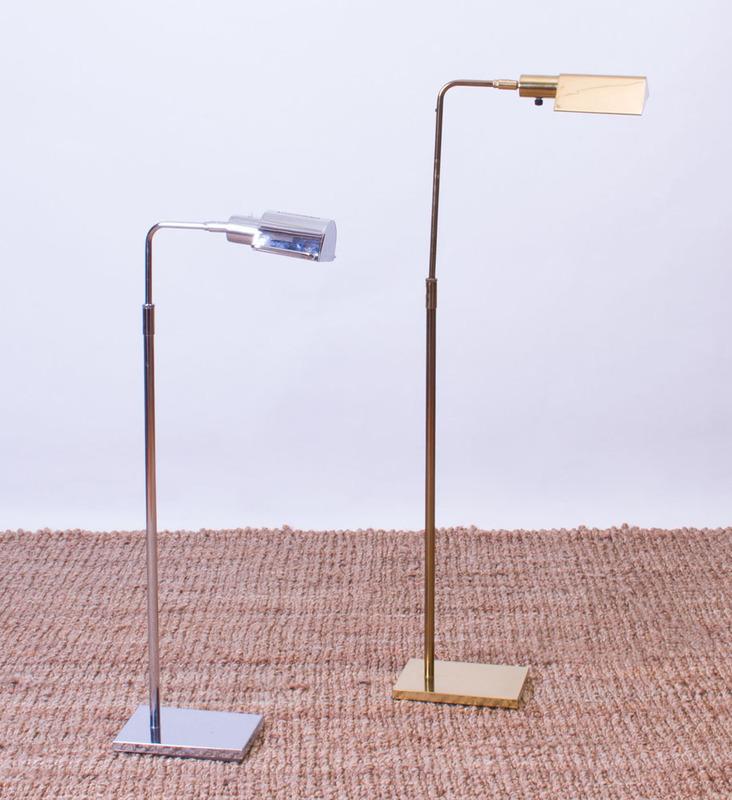 KOCH & LOWY BRASS FLOOR LAMP AND A KOCH & LOWY CHROME FLOOR LAMP