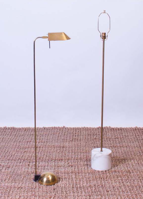 KOVACS BRASS FLOOR LAMP AND A BRASS FLOOR LAMP WITH MARBLE BASE