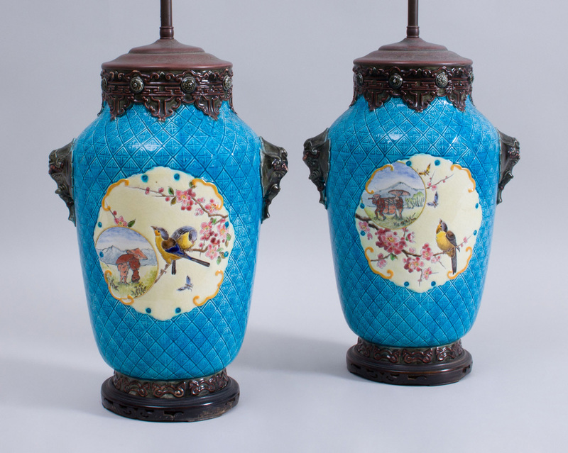 PAIR OF CONTINENTAL AESTHETIC MOVEMENT MAJOLICA VASES MOUNTED AS LAMPS