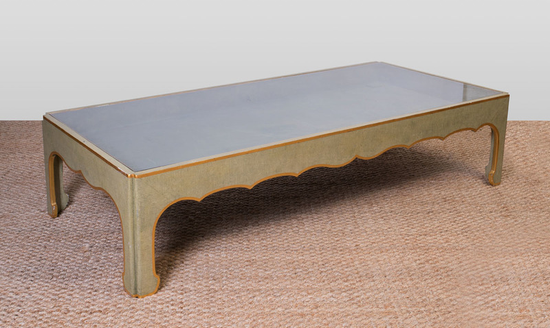 LARGE GREEN PAINTED AND PARCEL-GILT LOW TABLE