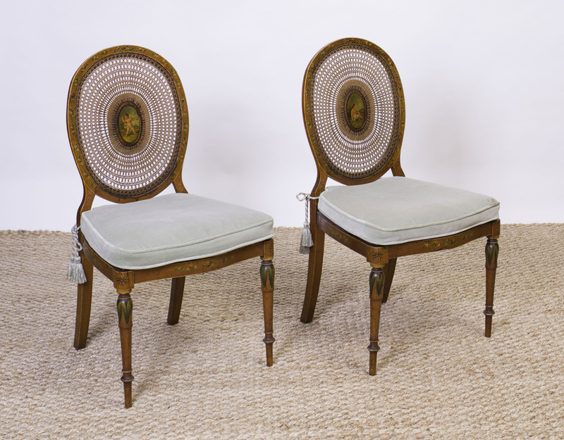 PAIR OF EDWARDIAN SATINWOOD AND CANED SIDE CHAIRS