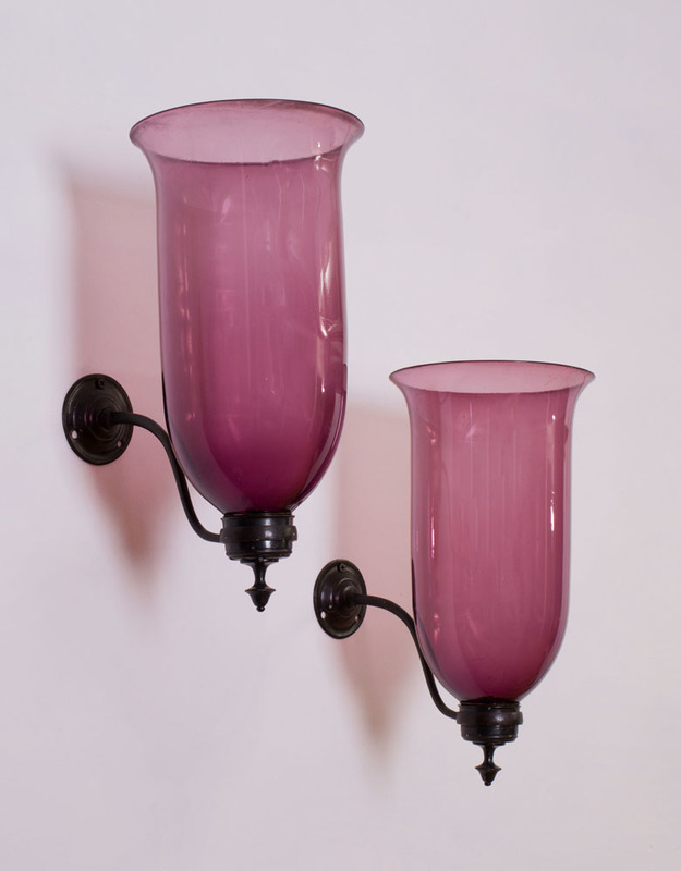 PAIR OF GEORGE III STYLE PATINATED-METAL AND AMETHYST GLASS SINGLE-LIGHT WALL SCONCES