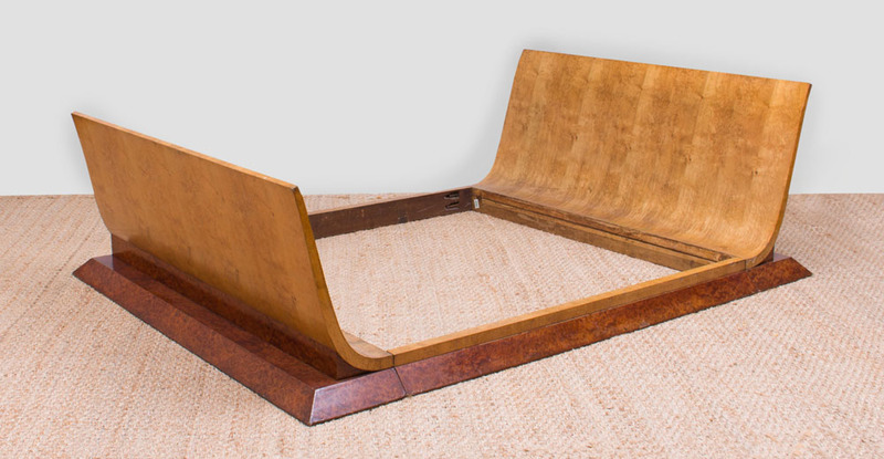FRENCH ART DECO BURR SYCAMORE AND BURL YEWWOOD QUEEN-SIZE SLEIGH BED
