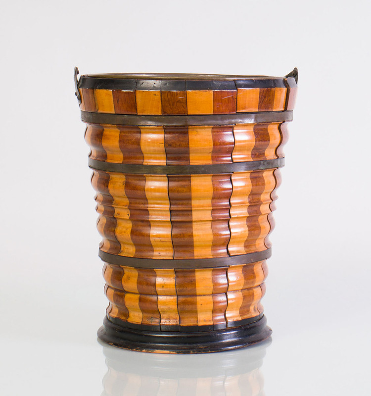 DUTCH BRASS-BANDED AND EBONIZED FRUITWOOD PEAT BUCKET