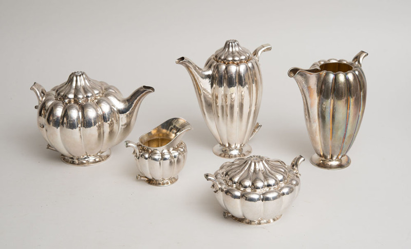 AUSTRIAN SILVER FIVE-PIECE TEA AND COFFEE SERVICE