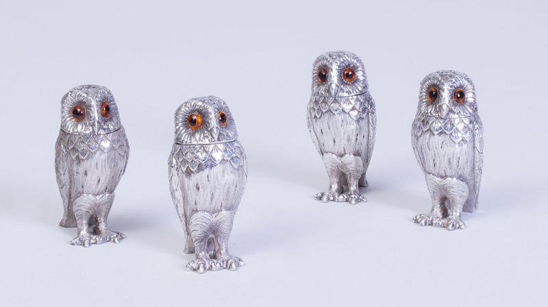 TIFFANY & CO. STERLING SILVER OWL-FORM CASTERS