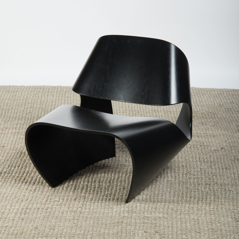 BRODIE NEILL EBONIZED BENT PLYWOOD 'COWRIE' CHAIR, MADE IN RATIO