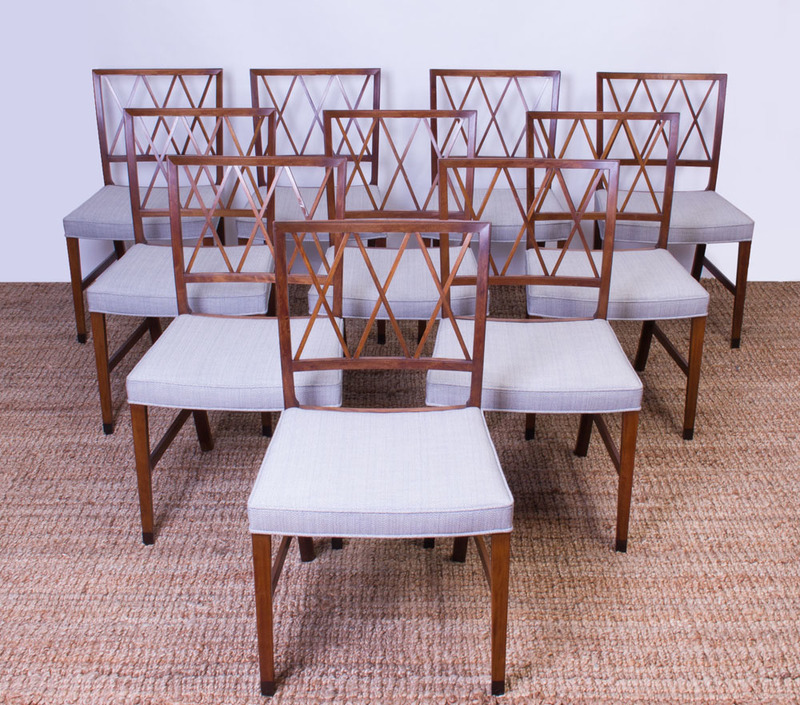 SET OF TEN OLE WANSCHER BIRCH SIDE CHAIRS FOR ILLUMS BOLINGHUS