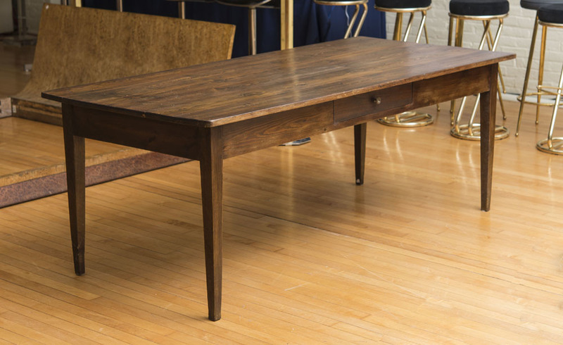 FRENCH PROVINCIAL STYLE STAINED OAK FARM TABLE