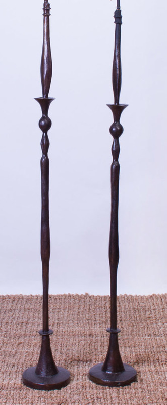 TWO BRONZE FLOOR LAMPS, IN THE STYLE OF ALBERTO GIACOMETTI