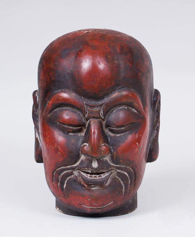CHINESE PAINTED PLASTER HEAD OF BUDDHA