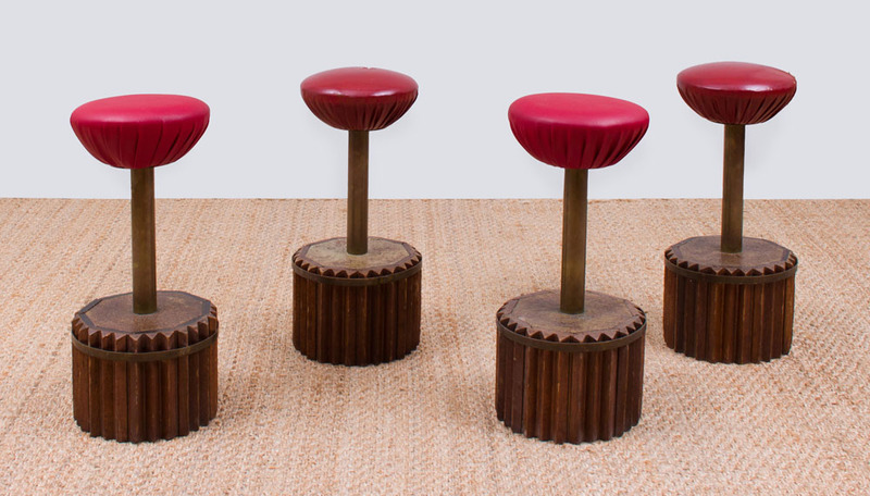 SET OF FOUR BRASS, LEATHER AND WOOD SWIVEL BAR STOOLS