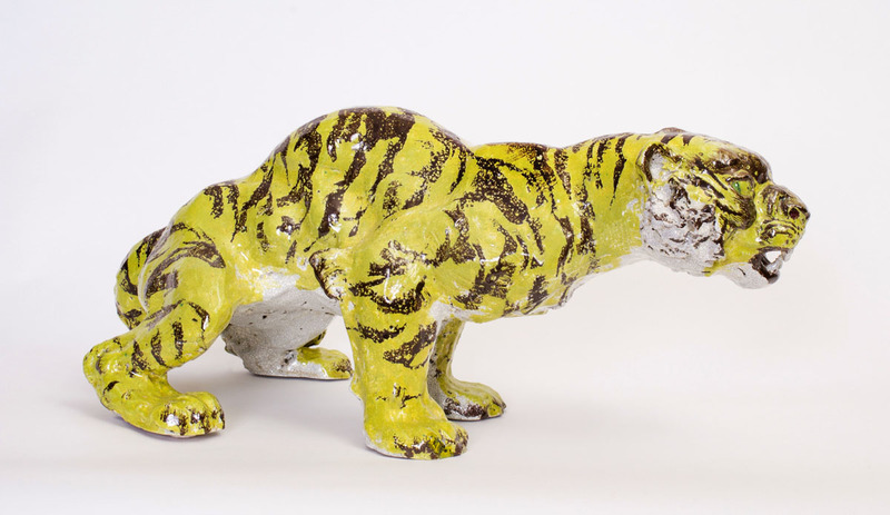 JEAN RENÉ GAUGUIN GLAZED POTTERY MODEL OF A TIGER, BING AND GRØNDHAL