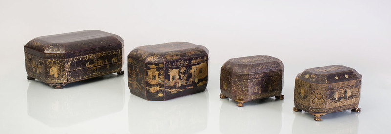 THREE CHINESE EXPORT BLACK LACQUER TEA CADDIES, A SMALL BOX, AND A LARGER WORK BOX