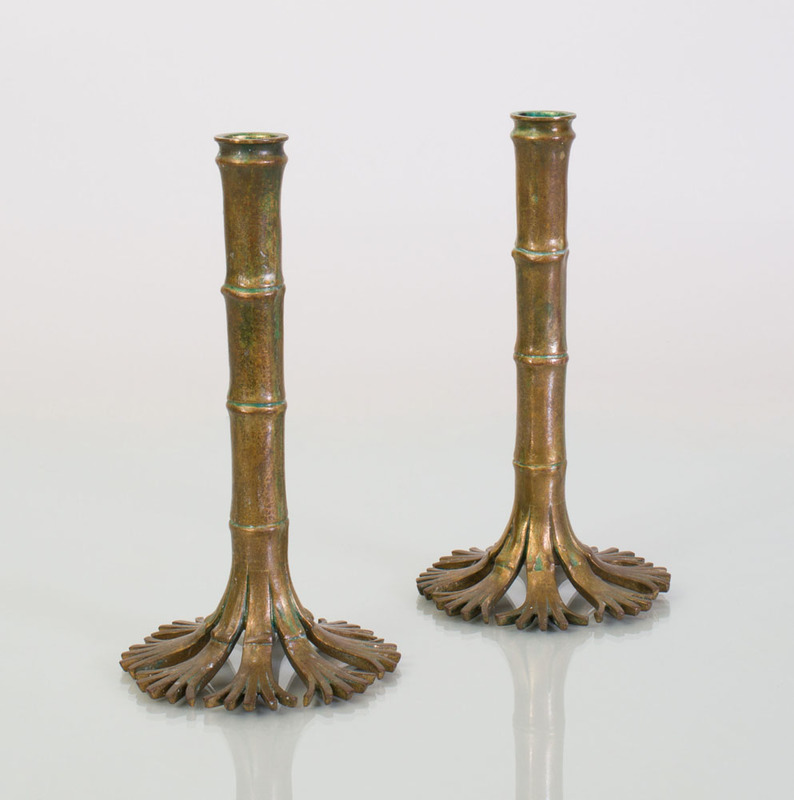 PAIR OF TIFFANY STUDIOS BRONZE BAMBOO-FORM CANDLESTICKS
