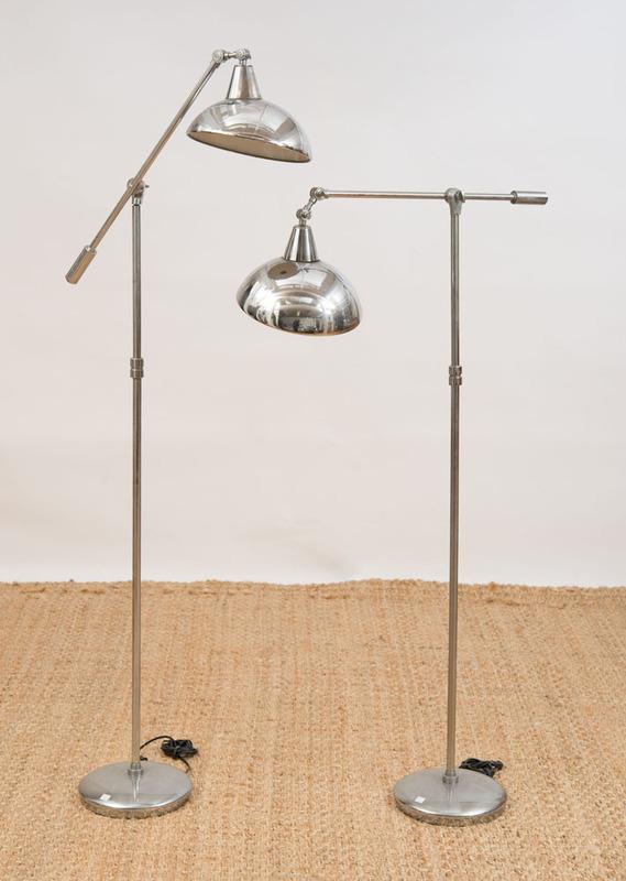 PAIR OF CHROME FLOOR LAMPS