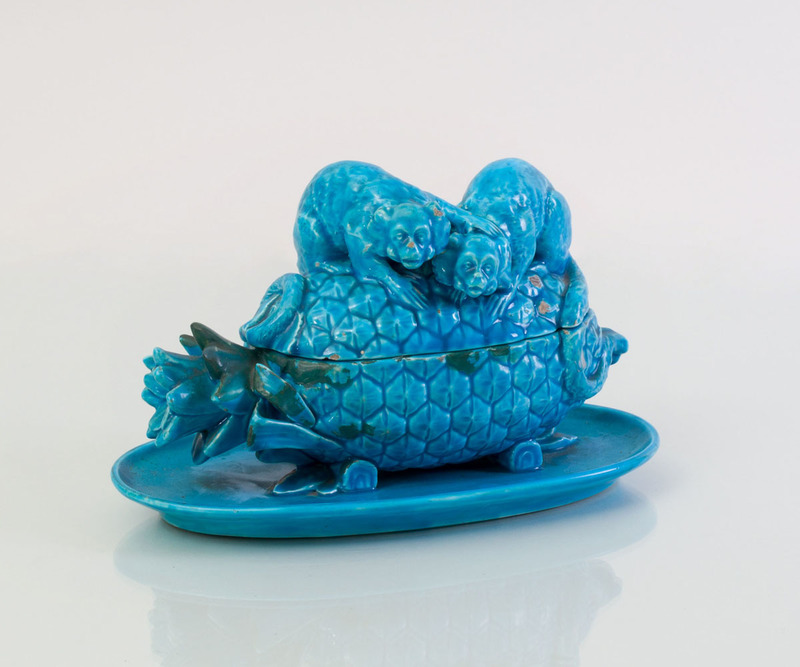 MINTON TURQUOISE GLAZED POTTERY PINEAPPLE-FORM INKSTAND AND COVER