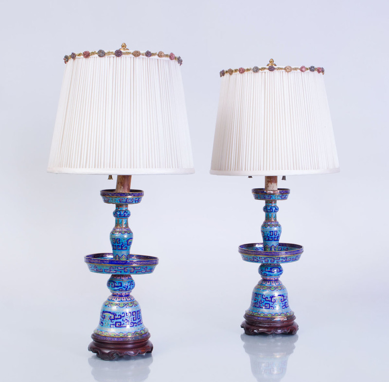 PAIR OF CHINESE CLOISONNÉ ENAMEL PRICKET STICKS MOUNTED AS LAMPS