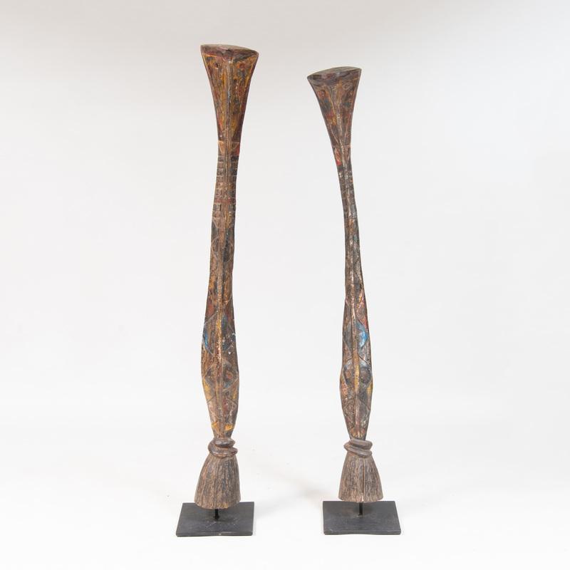Two Baga Style Painted Hardwood Headdresses, West Africa